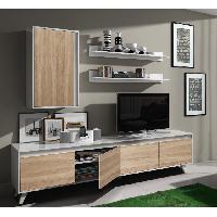 Living - Meuble Tv Mural Complet ALLURE Meuble TV contemporain blanc brillant et decor chene - L 200 cm
