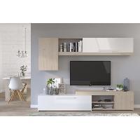 Living - Meuble Tv Mural Complet BACKSTAGE Meuble TV - Décor Chene Jackson et blanc brillant - L 250cm - Aucune