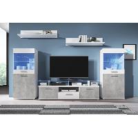 Living - Meuble Tv Mural Complet ELIO Meuble TV mural avec LED contemporain blanc brillant et effet beton + plateau en verre - L 252 cm