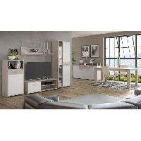 Living - Meuble Tv Mural Complet GULADA Ensemble meuble tele - buffet - table a manger - Contemporain - Blanc et decor chene