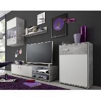 Living - Meuble Tv Mural Complet HIT Meuble TV mural contemporain gris effet beton et blanc - L 226 cm
