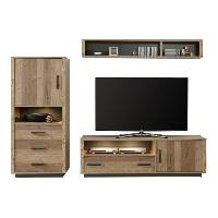 Living - Meuble Tv Mural Complet LODGE Meuble TV mural - Industriel - Decor epicea - L 240 cm