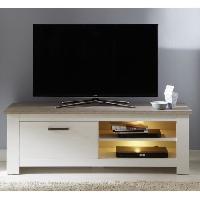 Living - Meuble Tv Mural Complet LOTTE Meuble TV Mural LED classique mélaminé décor chene bistré et pin blanchi - L 246 cm - Aucune