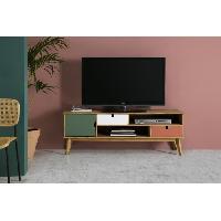 Living - Meuble Tv Mural Complet OCEANE Meuble TV 1 porte 2 tiroirs - Décor terracota . blanc et vert ciré - L 140 x P 37 x H 52 cm - Aucune