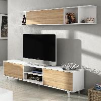 Living - Meuble Tv Mural Complet ZAIKEN PLUS Meuble TV scandinave blanc brillant et decor chene - L 180 cm