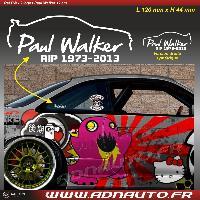 Logo - Sponsors 2 Autocollants RIP Paul Walker - Blanc - 12cm
