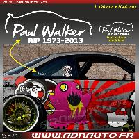 Logo - Sponsors 2 Autocollants RIP Paul Walker - Blanc - 12cm ADNAuto
