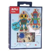 Loisirs Creatifs Et Activites Manuelles APLI Mini kit peinture Robots - En bois