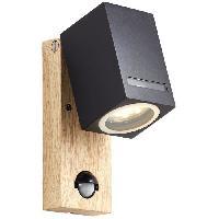 Luminaire D'exterieur Applique exterieure avec detecteur GALENI Noir/naturel ampoule GU10 max 20 W - Brilliant