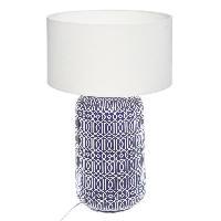 Luminaire D'interieur BORJA Lampe cylindre en céramique - E27 - 40 W - H52.5 cm - Bleu et blanc
