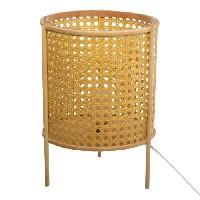 Luminaire D'interieur Lampe a poser cannage - H 28 cm - Beige