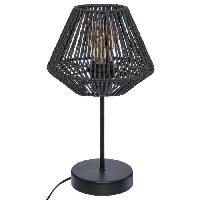 Luminaire D'interieur Lampe a poser corde - H 34 cm - Noir