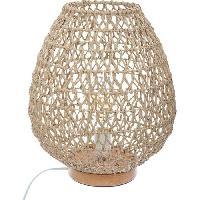 Luminaire D'interieur Lampe a poser en métal et papier - H 35.5 cm - Beige