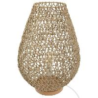 Luminaire D'interieur Lampe a poser en métal et papier - H 55 cm - Beige