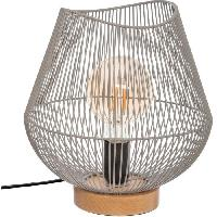 Luminaire D'interieur Lampe a poser en métal filaire - E27 - 40 W - H. 28 cm - Gris