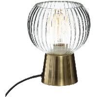 Luminaire D'interieur Lampe a poser en verre et métal - E27 - 25 W - H. 19.5 cm - Doré