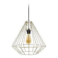 Lustre - Suspension DIAMOND Suspension filaire - D 40 x H 80 cm - Laiton - Ampoule a filaments comprise - E27 40W
