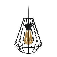 Lustre - Suspension DIAMOND Suspensions filaire en metal - D 20 x H 80 cm - Noir - Ampoule LED comprise - E27 40W