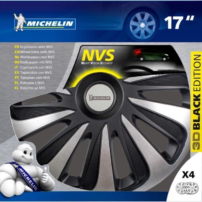 MICHELIN-Enjoliveur-17-NVS-3D-par-4-en-boite-Noir miniature 3