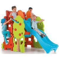 Maison De Jeux Exterieure - Maisonnette FEBER - Maison des Bois pour Enfant : Aire de jeux avec toboggan