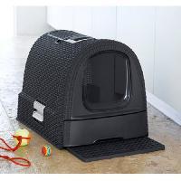 Maison De Toilette - Filtre A Charbon - Tapis Exterieur CURVER Bac a litiere pour chat anthracite - 51 x 38.5 x 39.5 cm