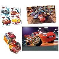 Mallette - Coffret Multi-jeux CLEMENTONI  Mini Edukit - Cars 3 - Dominos. Puzzle et 6 Cubes