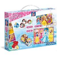 Mallette - Coffret Multi-jeux CLEMENTONI  Mini Edukit - Disney Princesses - Dominos. Puzzle et 6 Cubes