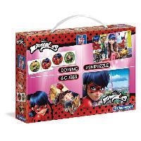 Mallette - Coffret Multi-jeux CLEMENTONI  Mini Edukit - Miraculous - Dominos. Puzzle et 6 Cubes