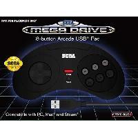 Manette Console Manette filaire noire Retrobit SEGA Mega Drive Connexion USB
