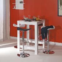 Mange-debout - Table De Bar - Table Haute CURRY Table-bar de 2 a 4 personnes style contemporain melamine blanc mat - L 80 x L 70 cm - Generique