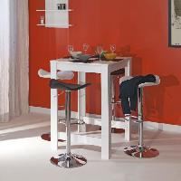 Mange-debout - Table De Bar - Table Haute CURRY Table bar L80 cm pietement + plateau blanc