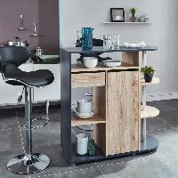 Mange-debout - Table De Bar - Table Haute DAMIA Table bar style contemporain décor chene et gris mat - L 100 x l 40 cm - Generique