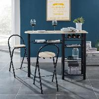 Mange-debout - Table De Bar - Table Haute FIRST Ensemble table bar et tabourets contemporain en metal laque noir et MDF revetu de PVC decor chene mat - L 119 cm