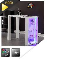 Mange-debout - Table De Bar - Table Haute FLASH Table de bar laquee blanc + led mutlicolore