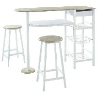 Mange-debout - Table De Bar - Table Haute JULIA Ensemble Table bar 2 personnes style contemporain en metal laque blanc et MDF decor chene + 2 tabourets - l 119 x L 37 cm