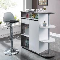 Mange-debout - Table De Bar - Table Haute LILY Table bar 2 personnes style contemporain decor blanc et beton - l 100 x L 40 cm