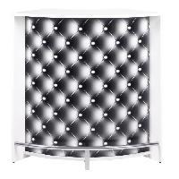 Mange-debout - Table De Bar - Table Haute SNACK Meuble multi usages 107 cm - Blanc et capitons - Aucune