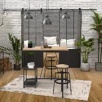 Mange-debout - Table De Bar - Table Haute YORK Ensemble Table bar 120x60cm + 2 tabourets bar bicolor chene + noir - Aucune