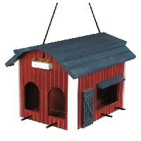 Mangeoire - Tremie Mangeoire suspendue grange en bois - 24x22x32 cm - Rouge - Pour oiseaux
