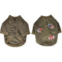Manteau Blouson Mike - Polyester - 30 cm - Kaki - Avec ecussons - Pour chien
