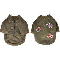 Manteau Blouson Mike - Polyester - 40 cm - Kaki - Avec ecussons - Pour chien
