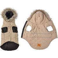 Manteau Doudoune Chuck - Capuche fausse fourrure doublee polaire - 35 cm - Taupe - Pour chien