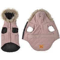 Manteau Doudoune Chuck - Capuche fausse fourrure doublee polaire - 40 cm - Kaki - Pour chien