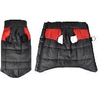 Manteau Doudoune Jack - Polyester - 40 cm - Bicolore rouge et noir - Pour chien