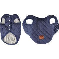 Manteau Doudoune James - Matelassee polyester double polaire - 35 cm - Bleu - Pour chien