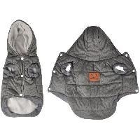 Manteau Doudoune Louis - Capuche polyester double polaire - 30 cm - Gris - Pour chien