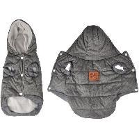 Manteau Doudoune Louis - Capuche polyester double polaire - 35 cm - Gris - Pour chien