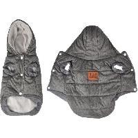 Manteau Doudoune Louis - Capuche polyester double polaire - 40 cm - Gris - Pour chien