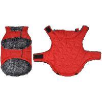 Manteau Doudoune Sam - Polyester double polaire - 35 cm - Rouge - Pour chien