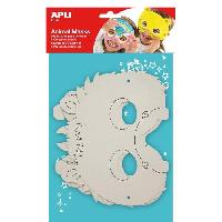 Masque - Accessoire Visage APLI Pochette 6 Masques Animaux a colorier 6 Modeles Assortis